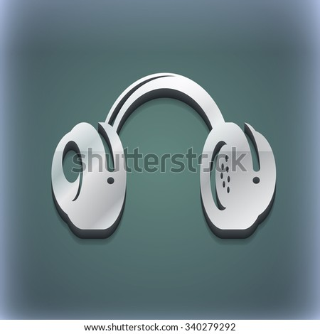 headsets icon symbol. 3D style. Trendy, modern design with space for your text illustration. Raster version - stock photo
