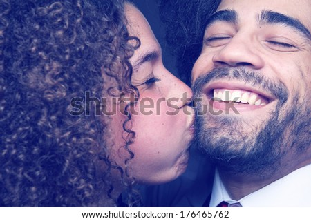 Headshot Happy love couple  - stock photo