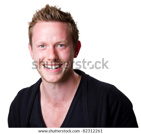 Headshot of a good looking young man grinning