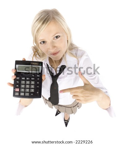 headshot of young blonde woman with calculator on white background - stock photo