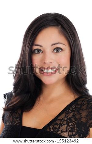 Headshot portrait of a beautiful mid 30s Hispanic woman isolated on white - stock photo