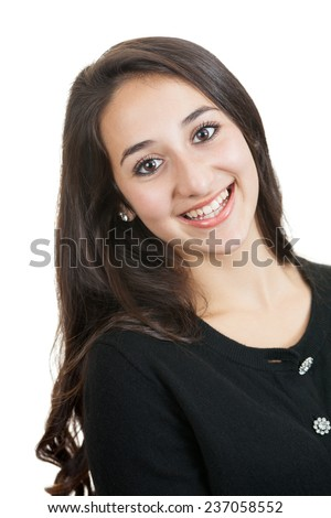 Headshot portrait of a beautiful mixed race teenage girl isolated on a white background - stock photo