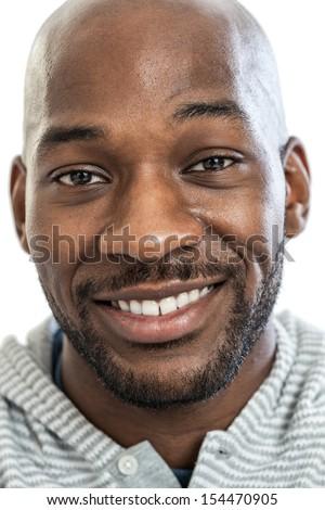 Headshot Portrait Handsome Black Man Smiling Stock Photo ...