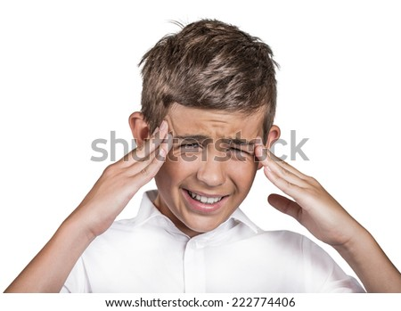 Headshot portrait stressed frustrated teenager boy annoyed by to many things to do errands having panic attack isolated white background. Negative human expression emotion feeling attitude perception - stock photo