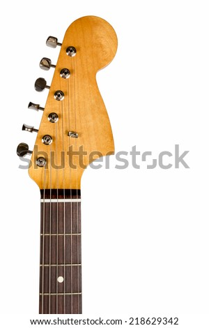 Headstock of the six string classic electric guitar on white background - stock photo