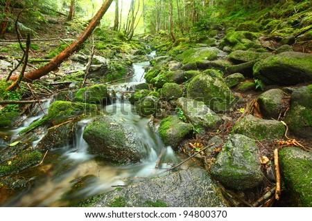 Headwaters of the Chikumagawa River. Nagano. Japan - stock photo