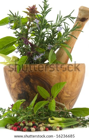 Healing herbs, spices, and edible flowers (hand carved olive tree mortar and pestle) - stock photo