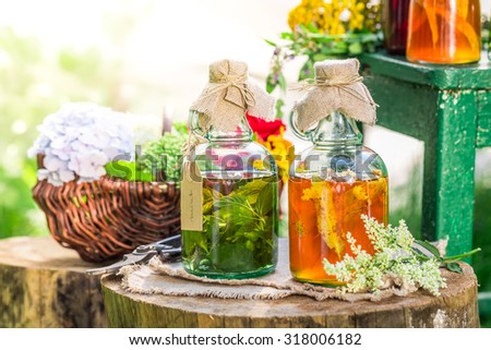Healing tincture as homemade cure - stock photo