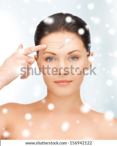 health and beauty concept - beautiful woman face - stock photo