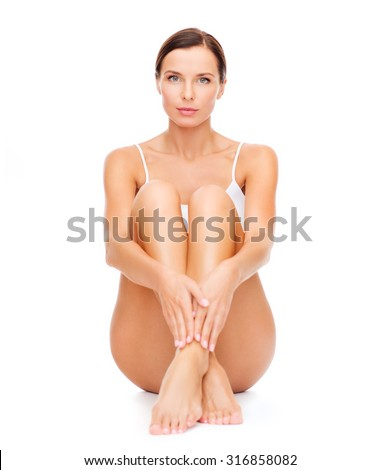 health and beauty concept - beautiful woman in white cotton underwear - stock photo