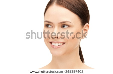 health and beauty concept - clean face of beautiful young woman - stock photo