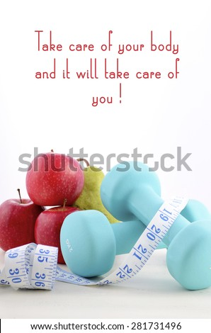 Health and fitness concept with feminine dumbbells and popular inspirational saying text.  - stock photo