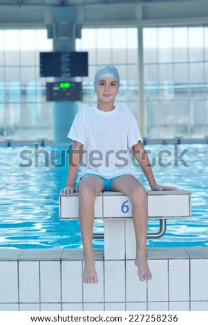 health and fitness lifestyle concept with young athlete swimmer recreating  on indoor olimpic pool - stock photo