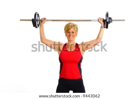 Health and Fitness Woman with Weights - stock photo