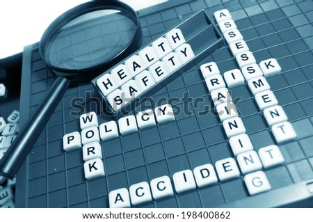 Health and safety concept with letters and related keywords - stock photo
