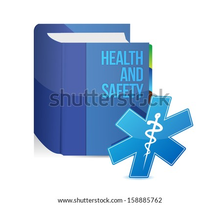 health and safety medical book illustration design over white - stock photo