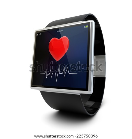 health app on a smartwatch screen, isolated on white background - stock photo