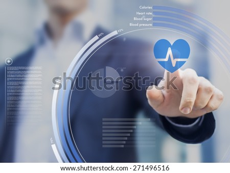 Health application touchscreen interface for improving fitness through personal healthcare - stock photo
