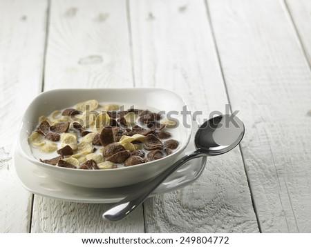 health breakfast cereal with milk - stock photo
