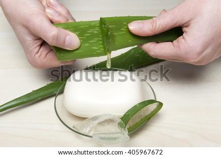 Health-care and body treatment with aloe vera soap - stock photo