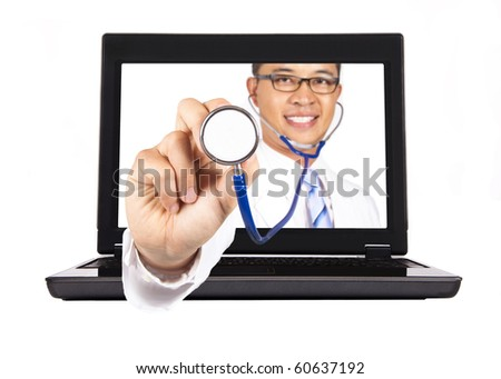 health-care and medical service from internet.doctor's hand with stethoscope - stock photo