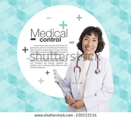 health care and medicine concept - smiling female doctor with stethoscope and clipboard - stock photo