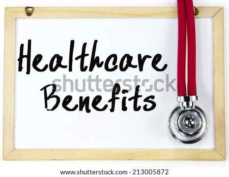 health care benefits text write on blackboard - stock photo