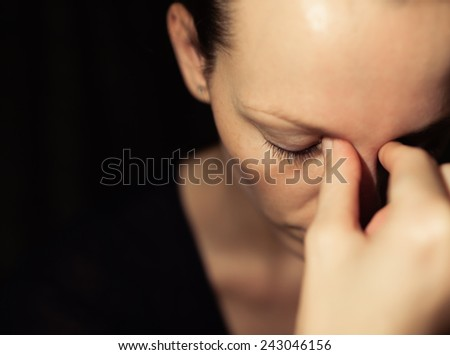 Health care concept - Woman suffering from headache. - stock photo
