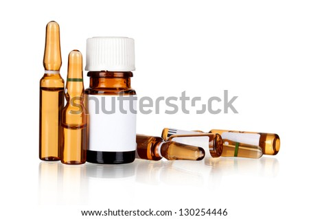 health care / medical concept: isolated set of ampules in white background with reflection - stock photo