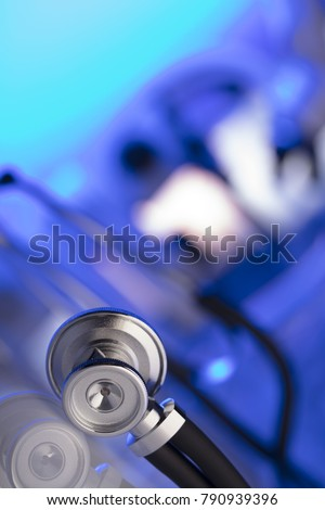 Health care, medical concept. Stehoscope, laboratory, lab glassware. Place for text.