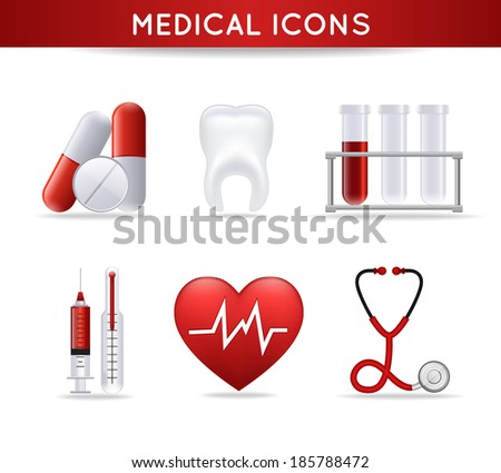 Health care medical icons set of pills heart rate tooth and stethoscope isolated  illustration - stock photo