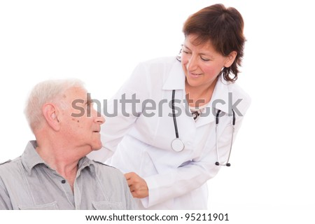 health care of old man at clinic hospital - stock photo