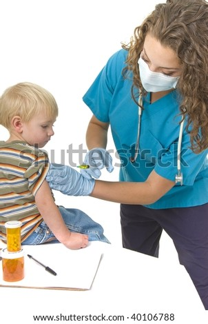 Health Care professional wearing gloves and mask preparing needle.  Vaccination or flu clinic theme - stock photo