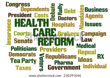 Health Care Reform Word Cloud on White Background - stock photo