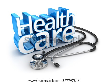 Health Care text, 3d Concept - stock photo