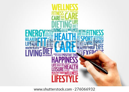 Health care word cloud, health cross concept - stock photo