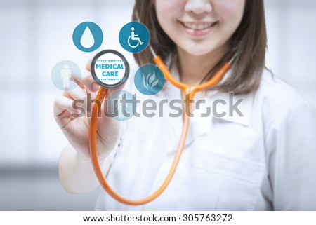 health check up with doctor holding stethoscope - stock photo