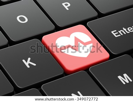 Health concept: computer keyboard with Heart icon on enter button background, 3d render - stock photo