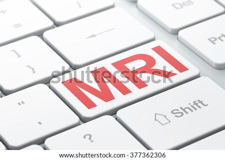 Health concept: MRI on computer keyboard background