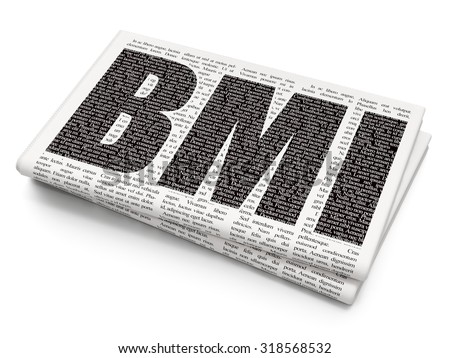 Health concept: Pixelated black text BMI on Newspaper background - stock photo