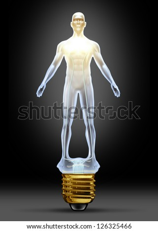 Health ideas and human creative power as a glass lightbulb in the shape of a body as concept of intelligence and creative health solutions in research for disease and illness in the medical field. - stock photo