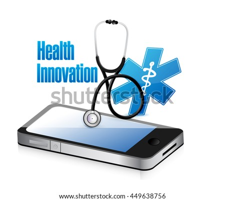 Health Innovation mobile technology concept sign illustration design graphic - stock photo