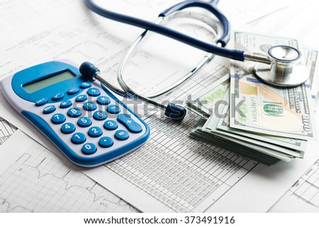 Health insurance application form with banknote and stethoscope concept for life planning  - stock photo
