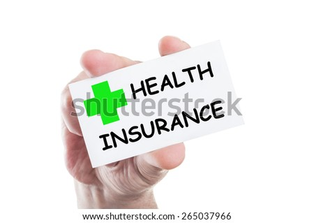 Health insurance concept card hold by hand isolated on white background - stock photo