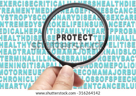 Health Insurance conceptual focusing on Protect - stock photo