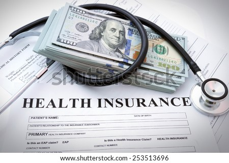 Health insurance form with money and stethoscope concept for life planning - stock photo