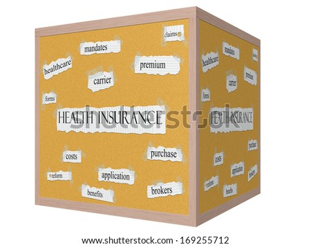 Health Insurance on a 3D cube Corkboard Word Concept with great terms such as premium, costs, benefits and more. - stock photo