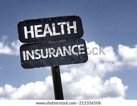 Health Insurance sign with clouds and sky background  - stock photo