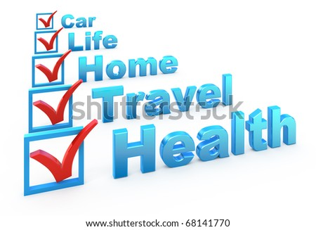 Health Insurance, Travel Insurance, Home Insurance, Life Insurance, Car Insurance checklist - stock photo