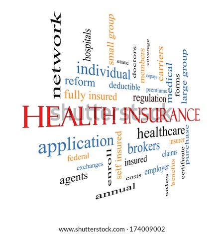 Health Insurance Word Cloud Concept fading away with great terms such as healthcare, reform, enroll, claims and more. - stock photo